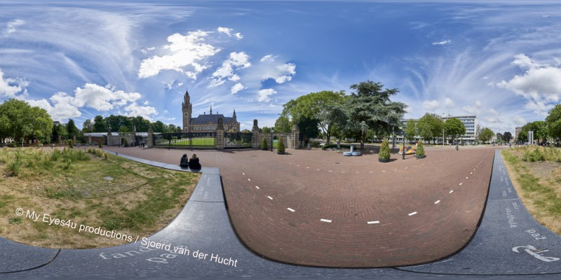 Een foto van de panorama die ik bij het Vredespaleis heb gemaakt