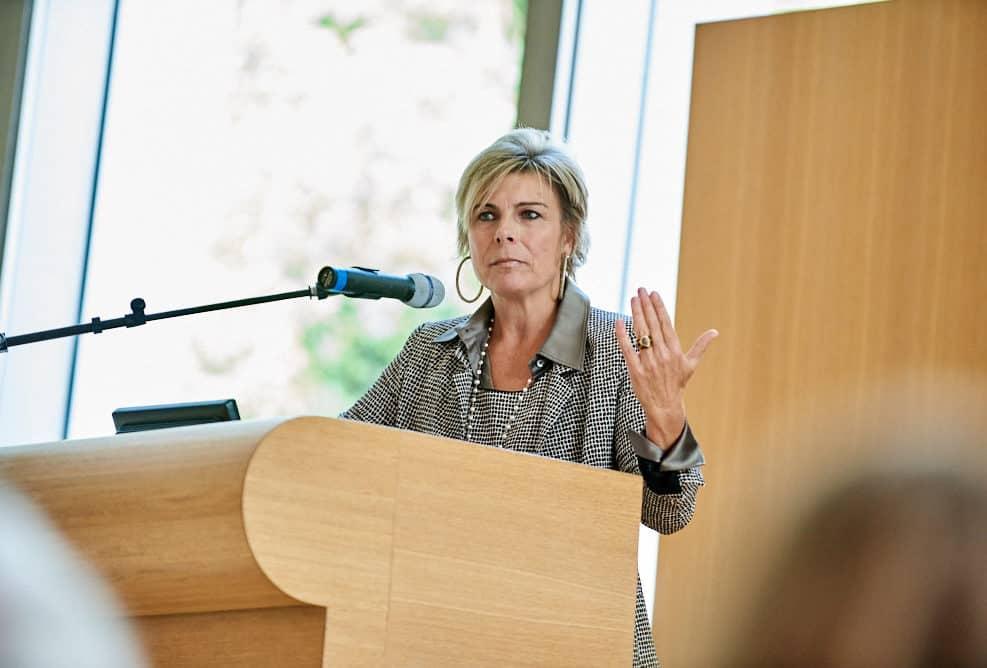 Presentatie van Prinses Laurentien tijdens de startbijeenkomst NAP (Netherlands Academy of Philanthropy) in het Vredespaleis, Den Haag.